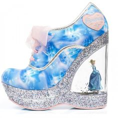 Irregular Choice I Cinderella Call me Cinders, blue, wedge with Cinderella figurine, 36