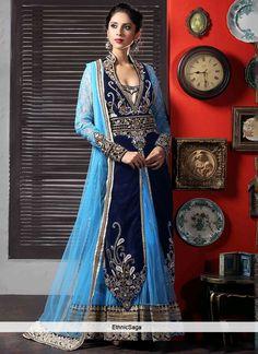 Bracing Blue Net Resham Work Long Anarkali Suit