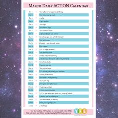 NEW March Daily action checklist and calendar for entrepreneurs #printable -- let's meet one another over pictures this month! One a day <3