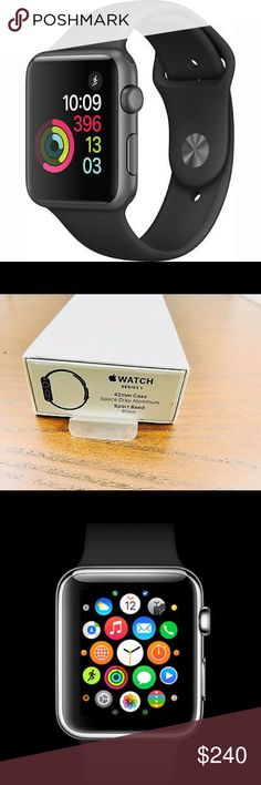 Brand new Apple Watch series 1 42mm blk Brand new unopened box!!🌸 this watch is sold for $300 at the Apple Store so this is a great price considering is brand new and never has been touched or opened. Please be kind with your offers!! apple Other