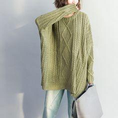 Pullover & Pullunder - Grüner Knit-Zipper Round Neck Pullover Tops - ein Designerstück von camilleyuxi bei DaWanda