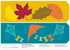 Herbst-Windlichter zum Prickeln - Bastelbogen mit zwei Windlichtern mit Blättern und Drachen - Herbstzeit ist Prickelzeit :-)