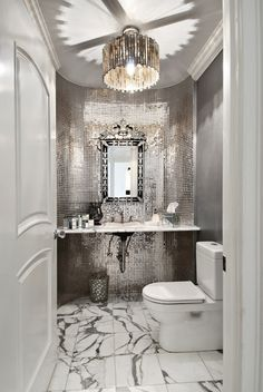 Gorgeous powder room, love the mirrored tile. Wonder if that would be a good idea in our powder room, especially with the black sucking up all the light. Bad Inspiration, Bathroom Inspiration, Bathroom Ideas, Bathroom Designs, Bathroom Organization, Bathroom Inspo, Cloakroom Ideas, Budget Bathroom, Bathroom Storage