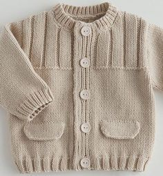 Ravelry: Simple Style Baby Cardigan and Hat pattern by Lion Brand Yarn Baby Knitting Patterns, Baby Cardigan Knitting Pattern Free, Baby Sweater Patterns, Knitted Baby Cardigan, Knit Baby Sweaters, Knitting For Kids, Baby Patterns, Cardigan Pattern, Pullover Design