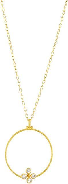 Gurhan Clover 24k Circle Pendant Necklace w/ Diamonds