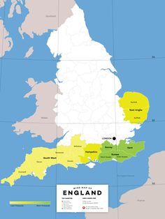 Wine regions of England!  There are 3550 acres / 1438 hectares (2012) of vineyards planted in England.  #EnglishWine #UKwine