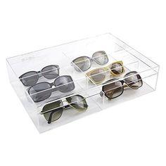 Modern Clear Acrylic 6 Compartment Eyewear Sunglasses Display Case / Lidded  Crafts Storage Organizer Box