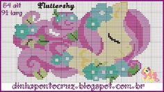 MLP Fluttershy pattern by Dinha Ponto Cruz Cross Stitch Horse, Unicorn Cross Stitch Pattern, Fantasy Cross Stitch, Beaded Cross Stitch, Crochet Cross, Crochet Chart, Cross Stitch Charts, Cross Stitch Embroidery, Cross Stitch Patterns