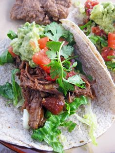mexican beef roast with salsa and guacamole