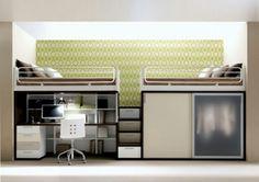petite chambre à coucher avec un  bureau moderne