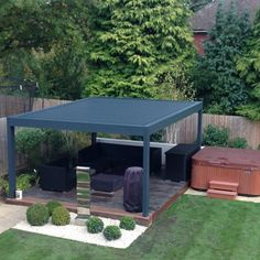 RENSON Camargue Louvered Terrace Cover designed and installed by Garden House Design