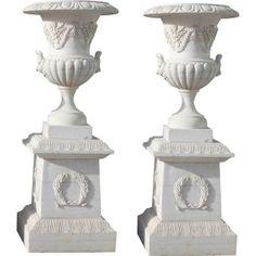 Entrance Planter Vases Urn w Base White Hand Cut Marble 6 ft tall Roman Wreath