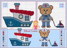 Delicado Cantinho: Gráficos Ponto Cruz Ursinhos Marinheiros