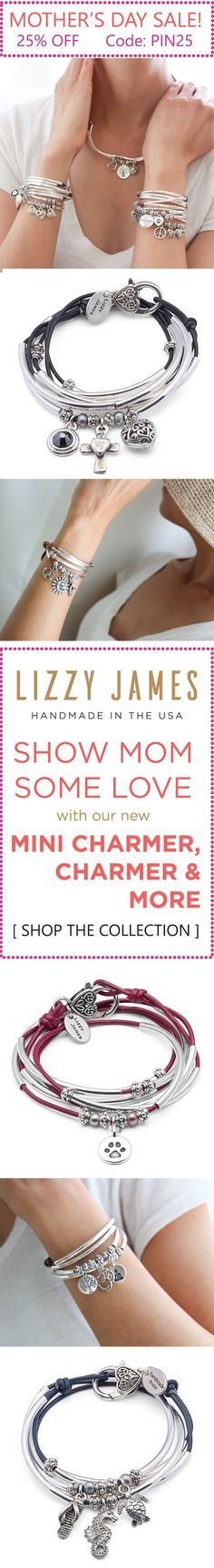 Lizzy James NEW Arrivals plus online exclusives just in time for Mother's Day! Get 25% OFF with CODE: PIN25 plus Free Shipping during our Mother's Day Sale. With great Mothers Day gift ideas featuring NEW charm bracelet wrap bracelets - Mini Charmer, Charmer and more. Handcrafted in the USA. #MadeInUSA