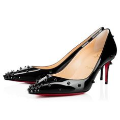 """This season, our famed """"So Kate"""" gets a little makeover with """"Degraspike."""" This sexy style features a spike gradient from its pointed toe to its stiletto heel. In black on black patent, even with your weapons concealed you are still dressed to kill. Stiletto Pumps, High Heel Pumps, Pumps Heels, Low Heels, Black Evening Shoes, Shoe Boots, Shoe Bag, Black Stilettos, Christian Louboutin Shoes"""