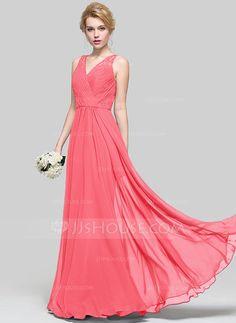 A-Line/Princess V-neck Floor-Length Ruffle Zipper Up Regular Straps Sleeveless No Grape Spring Summer Fall General Plus Chiffon Bridesmaid Dress