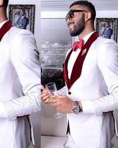 White Mens Formal Party Suit 2 Pieces Groom Suit Shawl Lapel Italian Slim Fit Man Mens Wedding Suits Tuxedos for Groom Men's Tuxedo Wedding, White Wedding Suit, Red And White Weddings, Red Wedding, Wedding Tuxedos, Wedding Ideas, Green Weddings, Red And White Prom Suits, Guys Wedding Suits