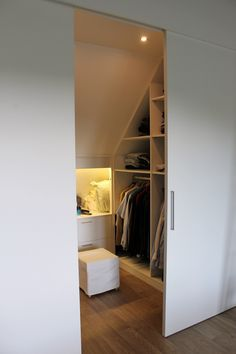 Beautiful custom made walk-in closets under a sloping roof Dorm Room Ideas beautiful closets Custom roofbeautiful sloping Walkin Attic Bedroom Storage, Small Space Storage Bedroom, Storage Bench Bedroom, Bedroom Storage For Small Rooms, Home, Bedroom Loft, Loft Conversion Bedroom, Bedroom Storage Ideas For Clothes, Closet Bedroom