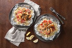 Pesto Shrimp and Couscous Packets