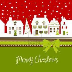 クリスマスカード、冬にはかわいい小さな町 ストックフォト - 11150337