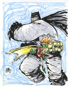 #DailySketch Dark Knight Returns. Decided to do a quick warm-up before the day's penciling begins. I usually do 8.5 x 11 but went 11 x 14 for this one. want to start using the full brush on these...