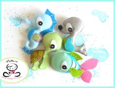 SPLASH - SEA ANIMALS - SET OF FOUR (PDF) This Is SPLASH my new SEA ANIMALS collection! These adorable guys are quick, easy and fun to make, but also so versatile! You can make a lovely garland for a kidss room or nursery decor; even better, you can add them to a very cute baby mobile. This PDF document will give you instructions and patterns to hand-sew all FOUR animals. This set includes: THE FISH, THE SEAHORSE, THE SEAL and THE TURTLE. they all measure about 4.5 Inch. **You will receive…