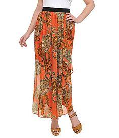 Peter Nygard Paisley Cascade Ruffle Maxi Skirt #Dillards