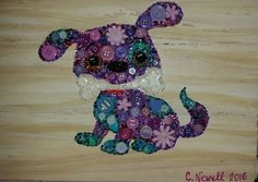 Button Art Purple Puppy on Recycled Wood with Acrylic Paint Background #buttons #art #purple #puppy