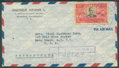 """1951, Nicaragua 50 C. """"75 years Universal Postel Union"""" cut in lieu of perforated (not by Michel) on airmail registered cover from Managua to the United States    Dealer  Pumpenmeier OHG    Auction  Minimum Bid:  45.00EUR"""