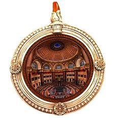 The design of this year's annual ornament showcases a unique image of the Library's Main Reading Room as photographed by Peter C. Costas. Costas captured almos