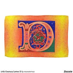 17th Century Letter D Kitchen Towels #Alphabet #Letter #Historical #English #Fashion #Kitchen #Towel
