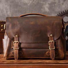 Handmade Top Grain Vintage Brown Leather Messenger Bag Travel Bag Leather Briefcase MT601 - LISABAG