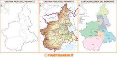Cartina Muta, Fisica e Politica del Piemonte da Stampare