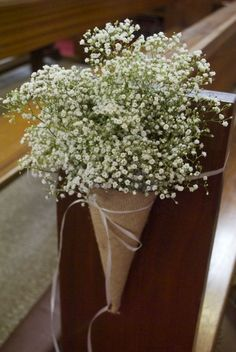 Hessian cones filled with gypsophila - baby's breath pew ends - aisle flowers - Flowers by Laurel Weddings - www.laurelweddings.com