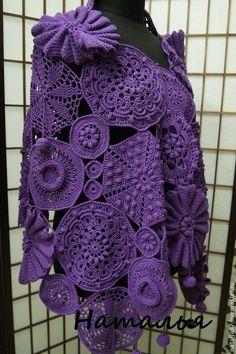 Crochet Shawls And Wraps, Knitted Shawls, Crochet Scarves, Crochet Clothes, Freeform Crochet, Irish Crochet, Crochet Coat, Beautiful Crochet, Vintage Crochet