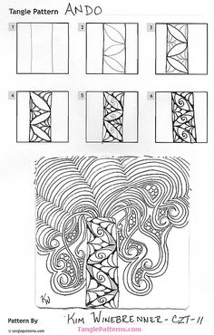 Online instructions for drawing CZT® Kim Winebrenner's Zentangle® pattern: Ando. Tangle Doodle, Tangle Art, Zen Doodle, Doodle Art Designs, Doodle Patterns, Zentangle Patterns, Zentangle Drawings, Doodles Zentangles, Filofax