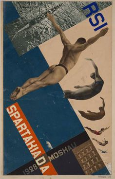 Gustavs Klucis. Postcard design for the Moscow Spartakiada, 1928 Colour paper and photo collage and gouache on paper, on card board 57.8 x 36.1 cm LNMA, Riga