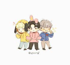 7 (vminkook) from the story ♤ Bts Chibi, Anime Chibi, Fanart Bts, Loli Kawaii, Bts Funny Moments, Bts Maknae Line, Kpop Drawings, Dibujos Cute, Fan Art
