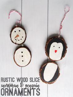 Rustic Wood Slice Snowman & Penguin Ornaments DIY