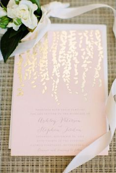 Foil-stamped invitations for weddings in 2016 || This metallic look stems from the gold/copper trend. It's a festive and fun style for stationery. #2016wedding #milestoneeventsgroup