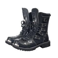 Punk Rock Men Boots Black Leather Ankle Shoes, Men's Shoes, Combat Boots, Men Boots, Black Leather Boots, Punk Rock, High Boots, Skull, Footwear