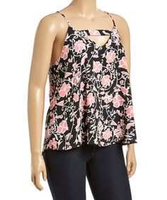 Love this Black & Pink Cutout Zip-Back Tank - Plus on #zulily! #zulilyfinds