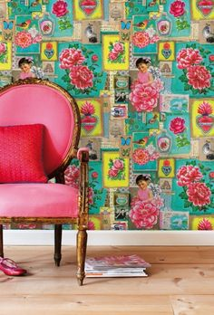 PiP Art wallpower: fabulous how this chair picks out the pinks in this amazing wall paper. Available to order at The Palace Darling!