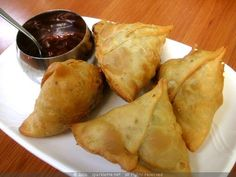 "Indian Samosa from Food.com:   								Carol had asked for this in the forums, hope this helps:) This is a real ""must have"" in my house on a rainy day or when terribly hungry or even as an appetizer at parties. Please note that the potatoes, onions and green chillies listed in the Dough portion belong in the Filling portion of the recipe. Thanks!"