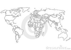 Black and white labeled world map printable geography pinterest photo about simplified world map black contours only on white background each country is a separate shape gumiabroncs Gallery