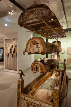 Sarcophagi display - Our Life After Death in Ancient Egypt  - Gallery at Ashmolean Museum, Oxford, UK.  Ashmolean Museum of Art and Archaeology in Oxford. Britain's oldest public museum. Entry is FREE