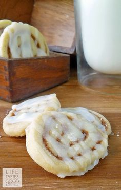 Cinnamon Roll Cookies | by Life Tastes Good taste just like an ooey gooey cinnamon roll, but in an easier to make cookie! These cinnamony sweet cookies are make the perfect addition to your holiday cookie tray!
