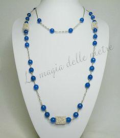 collana in agata blu   La magia delle pietre #collana #collier #necklace #agata #agate #perle #pearls #perles #handmade #bijoux #pietradura #beads