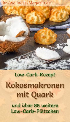 Low Carb Coconut Macaroons with Quark - Simple Cookie Recipe for Christmas Biscuits - Quick coconut macaroons with quark – simple flash cookies recipe with only 5 ingredients – low - Healthy Low Carb Recipes, High Protein Recipes, Low Carb Desserts, Easy Desserts, Law Carb, Christmas Biscuits, Christmas Cookies, Nutella Cookies, Coconut Macaroons