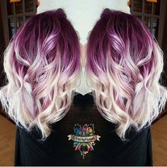 Plum purple hair color base with billowy white blonde hair by @hairbykasey instagram.com/hotonbeauty #ombrehairideas